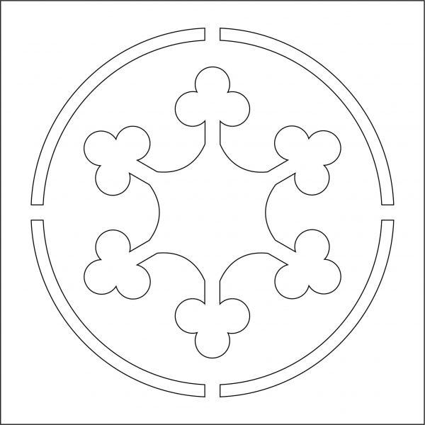 Схематическое изображение многоразового трафарета для декорирования Vse Repair 10101. Круг с узором внутри
